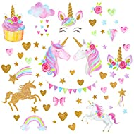 large 60x30cm unicorn wall decals: this wall stickers are more than 80pcs stars and heart small stickers and 2pcs big unicorn pattern stickers. It's enough to plaster your bedroom's wall Bright color and vivid pattern: Qkurt Vinyl wall stickers are m...