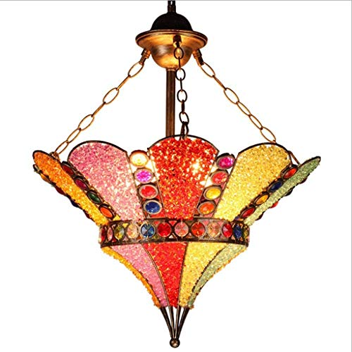 FFLJT Luz de techo de la lampara de la lampara del vintage -Crystal Hierro forjado embebido parcialmente, la lampara de cristales pulgadas Dormitorio