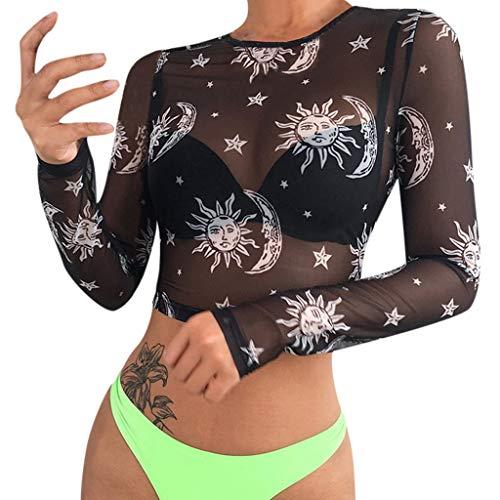 Andouy Mesh Crop Tops/Shirt Damen Durchsichtiger transparenter Druck/Spitze Sexy Party Club-Bluse, viele Styles(42.Schwarz-Sonne)