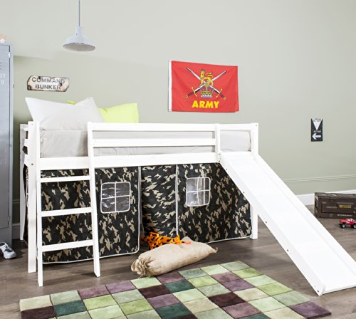 Noa and Nani - Midsleeper Cabin Bed with Slide and Army Camouflage Tent - (Whitewash)