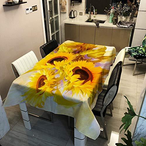 ZHAOXIANGXIANG Tovaglia con Stampa Rettangolare,Dipinto di Impianto Stampa Girasole Tovaglia Home Decor Rettangolare Antivegetative Impermeabile Cucina Soggiorno Coperchio Tavolo,140X180Cm