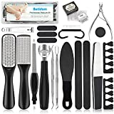 Pedicure Kit 20 in 1, Foot File Set, Stainless Steel Foot Care Kit, Callus and Dead Skin Remover Foot Rasp Peel, Pedicure Tools for Women Men Salon Home (Black)