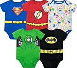 Warner Bros. Body Bébé Garçon Super-héros Justice League - Batman, Superman, The Flash et Green Lantern (Lot de 5),...
