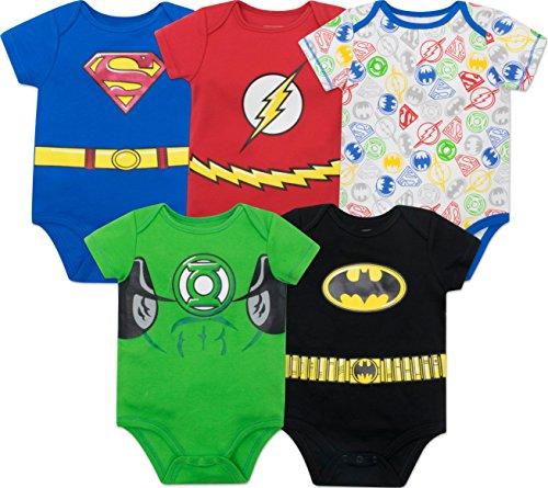 DC Comics Body Bimbo Divertenti Justice League: Superman, The Flash e Lanterna Verde (Pacco da 5), Multi 6-9 Mesi