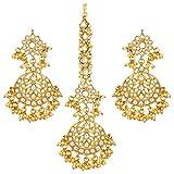 Aheli Exquisite Design White Colored Faux Kundan Chandbali Earrings Maang Tikka Set Ethnic Indian Jewelry for Women
