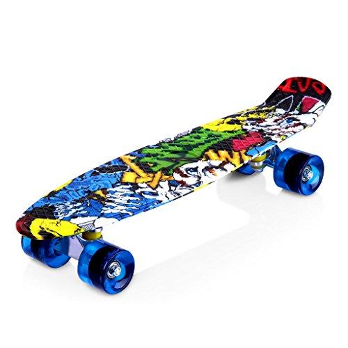 Monopatín – skateboard Enkeeo estilo retro para niños – 55,8 cm largo x 15,24 cm ancho. Robusto – ruedas 85A -rodamiento ABEC-7)