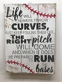 MarthaFox 35x45cm Baseball Sign Rustic Pallet Wall Art Life Will Always Throw Curves Baseball Mom Gifts Baseball Coach Gift Wooden Wall Sign 14x18 CB 655946