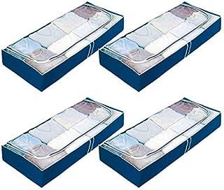 Wenko Rangement sous lit pour Le Stockage des Vetements, couettes, Housse Souple, Bleu, 105x15x45 cm, Lot de 4