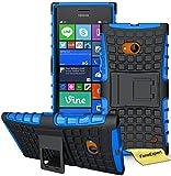 FoneExpert® Nokia Lumia 730 735 Handy Tasche, Hülle Abdeckung Cover schutzhülle Tough Strong Rugged Shock Proof Heavy Duty Case für Nokia Lumia 730 735 + Bildschirmschutzfolie (Blau)