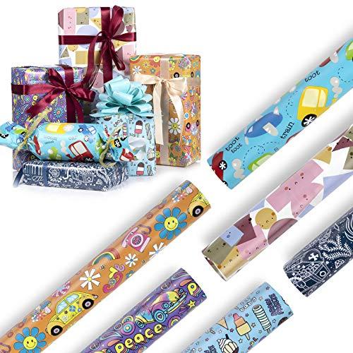 Diealles Shine Papel de Regalo, 6 Hojas Papel Regalo Infantil, 70x50cm Hojas de Papel de Regalo para Cumpleaños Baby Shower Navidad