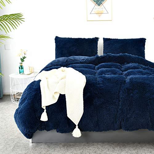 LHKIS Duvet Cover Queen, Sapphire Blue Velvet Duvet Cover Set, Soft Fluffy Plush Shaggy Comforter Cover Farmhouse Hotel Bedding Duvet Cover 3 Pieces