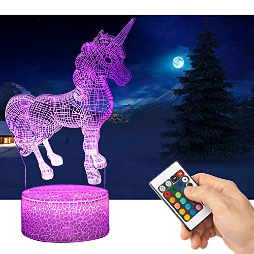 QiLiTd 3D Unicorn Gifts Toys Decor LED Night Light with Remote Control, 16 RGB Colours Bedside Lamp, Smart Touch Adjustable Brightness, Birthday Present Decoration for Baby Boy Girl Kids Women Men