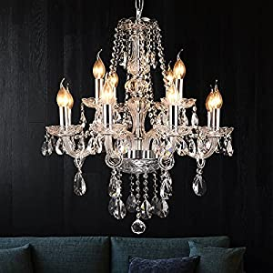 BEIRIO Modern Luxurious K9 Crystal Chandelier Classic 12-Lights Pendant Ceiling Lighting Fixture for Living Room Bedroom Dining Rome Kitchen Island Chrome Easy to Install (27.6× 23.6 inch)
