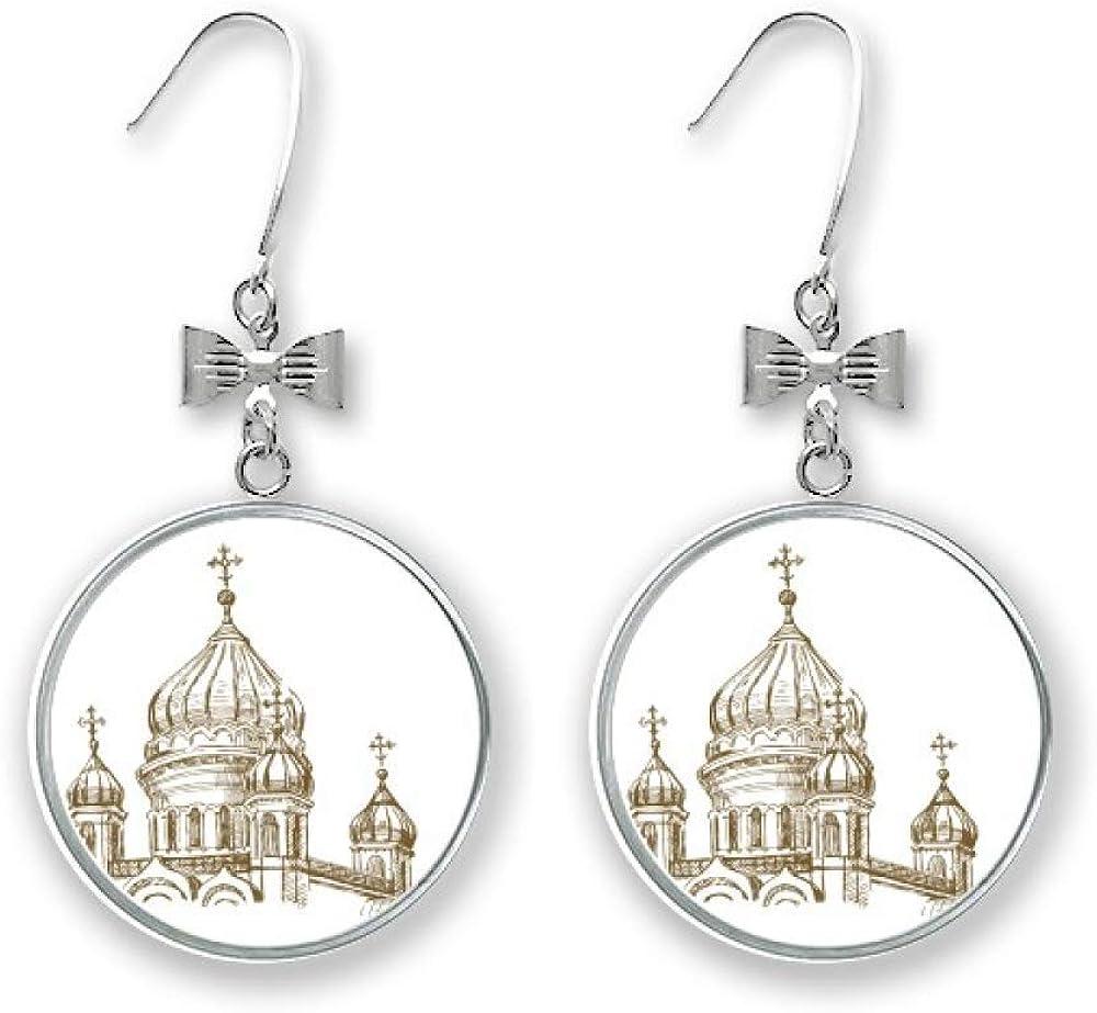 Church Landmark Mail order cheap Sketch Landscape Bow Stud Pierced trust Earrings Drop