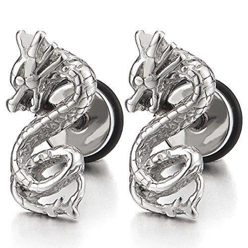 Paar Drachen Ohrstecker Ohrringe für Herren Jungen, Edelstahl, Schraube Wieder