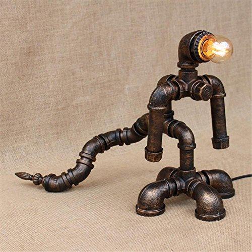 Lampe de Table Industrial Retro Iron Art Water Pipes Lampe de table Vintage Loft Lumière de bureau créative pour salon Chambre Bar Hall Pub Bureaux Café Ambience Décoration Table de chevet, I