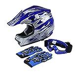 TCT-MT DOT Youth Kids Helmet+Goggles+Gloves Blue Flame Dirt Bike Helmet ATV Motocross Helmet+Goggles+Gloves Medium