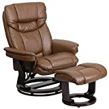 Flash Furniture Contemporary Multi-Position Recliner and Curved Ottoman with Swivel Mahogany Wood...