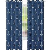 YUAZHOQI Anchor - Cortinas opacas con diseño de estilo nórdico, estilo retro, escandinavo, para ventana de salón, 132 x 274 cm, color azul y blanco