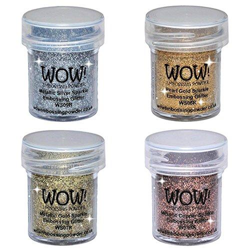 Wow! Sparkle Bundle - Embossing Powders 4 (15ml) Jars Metallic Gold Sparkle, Metallic Copper Sparkle, Pearl Gold Sparkle and Metallic Silver Sparkle (Gold, Silver)