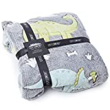 CityComfort Manta Polar Niño Dinosaurio Que Brilla en La Oscuridad, Fleece Blanket Mantas Nórdicas Super Suaves, Diseño...