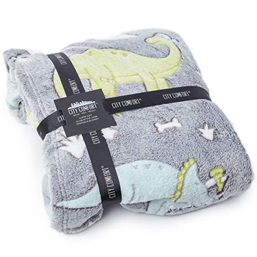 CityComfort Dinosaur Fleece Blankets For Kids, Fluffy Blanket Glow In The Dark, Cosy Boys Bedroom Accessories, Super Soft Warm Fleece Material Bed Throw, Great Dinosaur Gifts For Boys and Toddlers