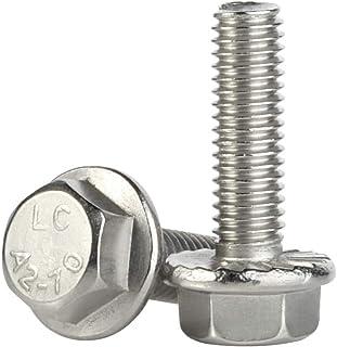 M8-1.25 x 20mm Flanged Hex Head Bolts Flange Hexagon Screws, Stainless Steel A2, DIN 6921, 20 PCS