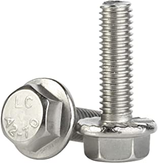 M6-1.0 x 30mm Flanged Hex Head Bolts Flange Hexagon Screws, Stainless Steel A2, DIN 6921, 25 PCS