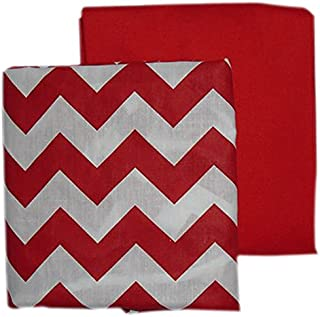 Baby Doll Bedding Chevron and Solid Color Fitted Crib/Toddler Bed Sheet Set, Red 2 Pk