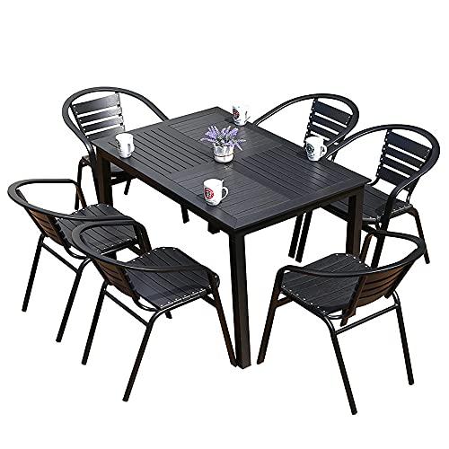 VBARV Juego de Comedor de Metal de 7 Piezas, Mesa de Patio al Aire Libre con 6 sillas, Mesa de bistró Larga con Orificio para sombrilla, para jardín, terraza, Patio