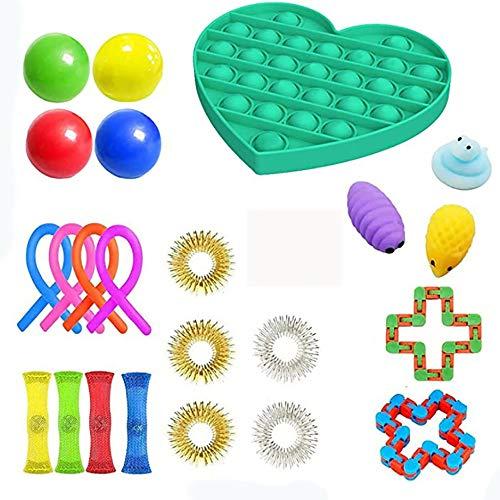 Juego de juguetes sensoriales, alivia el estrés y la ansiedad, juguete para niños adultos, herramienta sensorial de burbujas anti-ansiedad (B, 23 pcs)