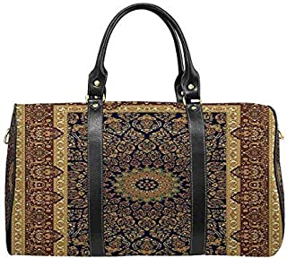 InterestPrint Unisex Duffel Bag Carry-on Bag Overnight Bag Weekender Bag Carpet Border Frame Pattern