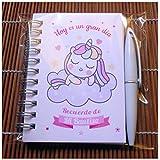 Recuerdos, Detalles y Regalos Para Invitados Bautizo Niña Unicornios - Baby Shower - Libretas con Mini Bolígrafo - Pack 15 Unidades - ¡Gustará a Todos!
