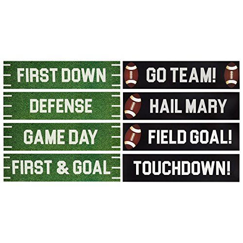 8-Pack Football Party Cutouts - Football Party Sign Decorations and Party Supplies for Sports Themed Celebrations, Football Parties and Tailgate Parties, 4 x 17 Inches, Green, Black