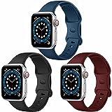 Paquete de 3 correas para Apple Watch compatibles con Apple Watch 38 mm, 42 mm, 40 mm, 44 mm, correa de silicona suave para relojes deportivos, compatible con iWatch SE Series 6 5 4 3 2 1(H, 42/44)