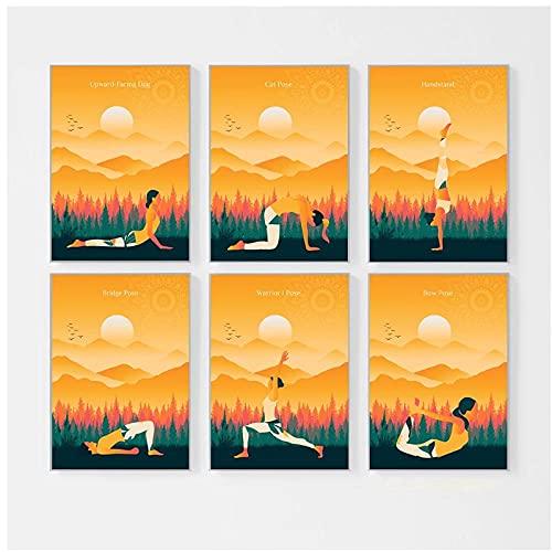 DLFALG Resumen Yoga Girl Handstand Pose Lienzo Pintura Arte de la pared Póster Impresión de imagen Sala de yoga moderna Sala de estar Decoración para el hogar-30x40cmx6 Sin marco