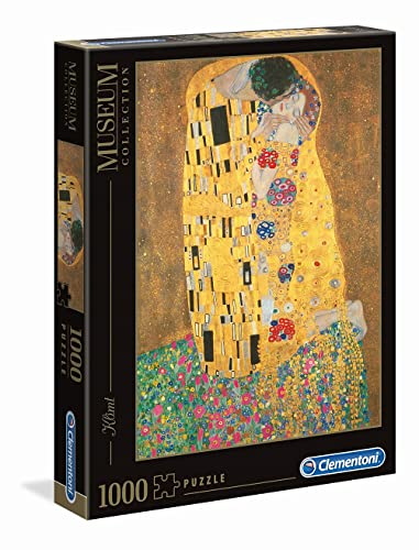 Clementoni- Klimt-Il Bacio Gustav Museum Collection Puzzle, Colore Neutro, 1000 Pezzi,...