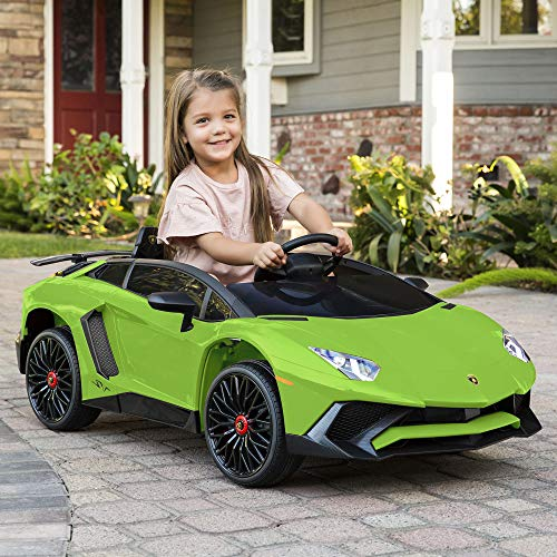Best Choice Products Kids 12V Ride On Lamborghini Aventador SV Sports Car Toy w/ Parent Control, AUX Cable - Green