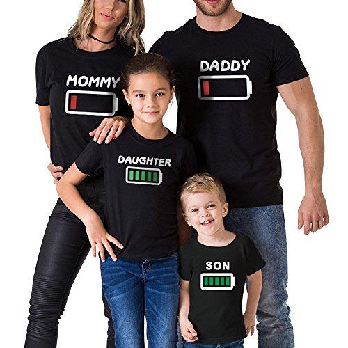 Minetom Camisetas Familiar de Manga Larga Casual Blusas de Cuello Redondo Mamá Papá Niños Bebé Impresión T-Shirt Tee Tops A Negro - Daddy EU L
