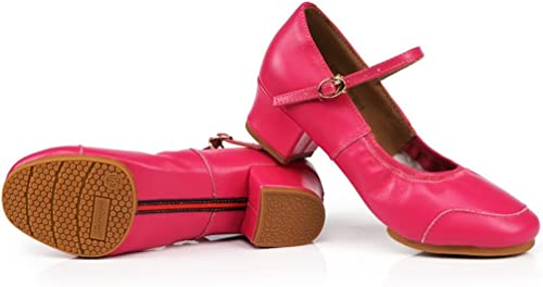 BYLE Sangle de Cheville Sandales en Cuir Cuir Cuir Chaussures de Danse Modern'Jazz Samba Danse carrée en Cuir Chaussures Chaussures de Danse, High-Heeled Femelle Adulte est Rouge Fond Mou 4d5
