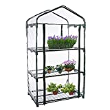 rebirthesame 4-Tier Mini Greenhouse Portable Plant Green House Outdoor Gardening Hot House With Plastic Cover Roll-Up Door, Steel Shelves, For Growing Vegetables, Flowers, Seedlings, Potted Plants