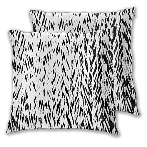 ZELXXXDA Throw Pillow Covers,Set of 2,Monochrome Animal Skin PatternDecorative Square Cushion Case for Sofa Couch Bedroom Car 16'x 16'