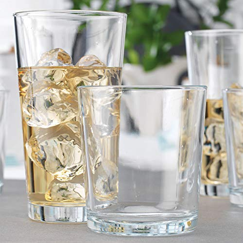 Clear Drinking Glasses Set Of 16 Durable Heave Base Glass Cups 8 Highball Glasses and 8 Rocks Glasses Beer Glasses Ideal for Water Juice Wine and Cocktails