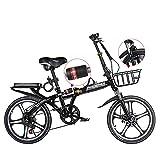 ROYWY Bicicleta Plegable para Adultos, 20 Pulgadas Bike Sport Adventure, Bicicleta de montaña prémium para niños, niñas, Hombres y Mujeres -B/Black
