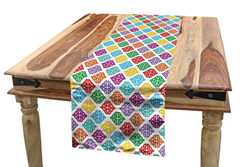 Lunarable Celtic Knot Table Runner, Colorful Antique European Ornate Design Mythological with Curved Lines, Dining Room Kitchen Rectangular Runner, 16' X 120', Multicolor