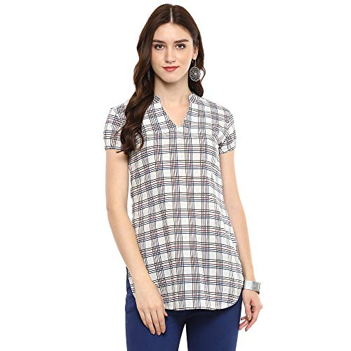 Indian Virasat Off-White Colored Striped Printed Tunic