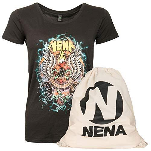 NENA Original Set Frauen T-Shirt Oberteil Fanartikel Be My Rebel Gym Bag Turnbeutel Schwarz (XXL)