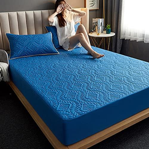 LINGBD Bedding - Protector De Colchón Acolchado Microfibra - Transpirable - Funda para Colchon Estira hasta,Azul,180 * 200cm