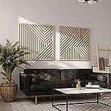 Other Furniture Modern Wood Wall Art Set- Abstract Wooden Wall Art Set of 2- Modern Wall Art- Large Wood Wall Panels- Rustic Large Wall Art Set of 2