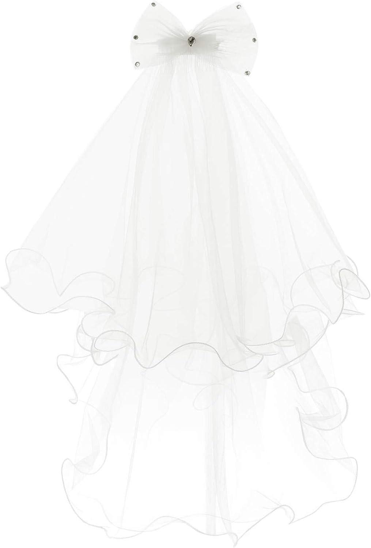 ranrann Kids Girls White Holy 1st Communion Headpiece with Comb Flower Girls Wedding White Floral Flower Headband